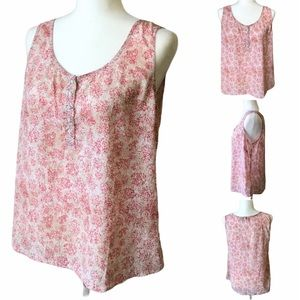 Pink & Tan Sleeveless Blouse with Button Neckline